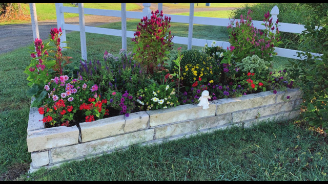 This is one of four flower beds at IOOF